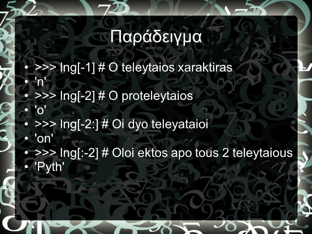 Παράδειγμα >>> lng[-1] # O teleytaios xaraktiras n